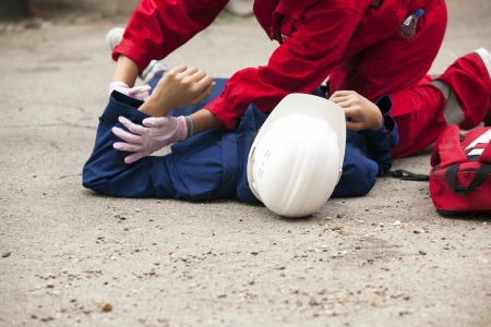 work accident: first aid training detail