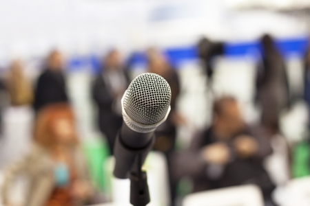 press conference: microphone - press conference Stock Photo