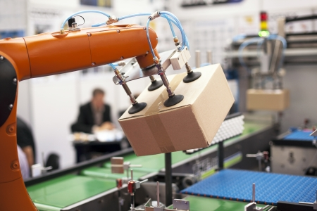 packaging equipment: robotic arm for packing Stock Photo