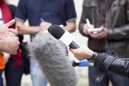reportero: los medios de comunicación la entrevista Foto de archivo