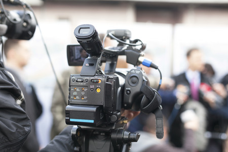 media event: covering an event with a video camera Stock Photo