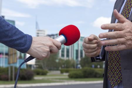 spokesperson: Interviewing businessman  Stock Photo