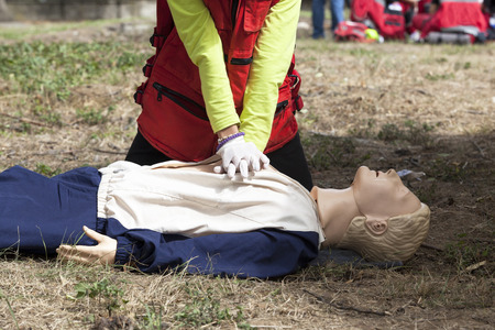 chest compression: CPR training detail Stock Photo