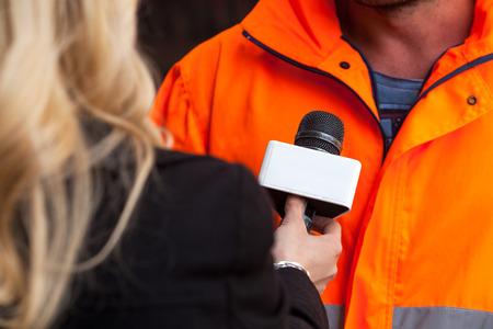 reportero: Entrevista con los medios Foto de archivo