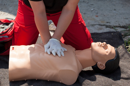 cpr: First aid. Cardiopulmonary resuscitation CPR. Stock Photo