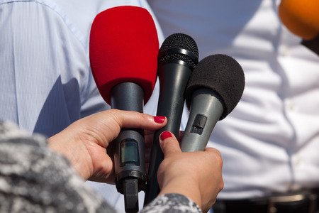 correspondent: Media interview. Microphones.