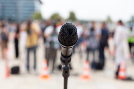 media equipment: News conference. Microphone. Stock Photo