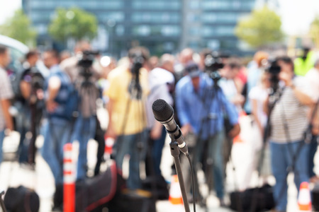 press media: News conference. Microphone. Stock Photo
