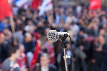audio speaker: Protest. Public demonstration. Stock Photo