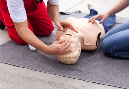 First aid training. Cardiopulmonary resuscitation CPR.