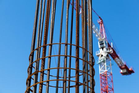 industry architecture: Steel reinforcement. Building crane.