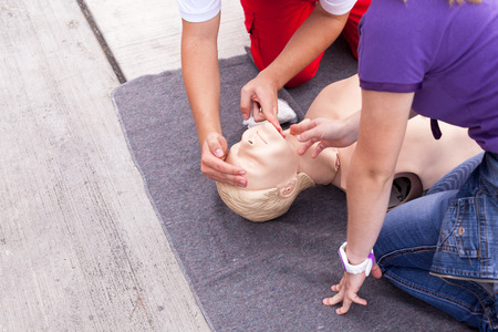 Cardiopulmonary resuscitation CPR. First aid training.
