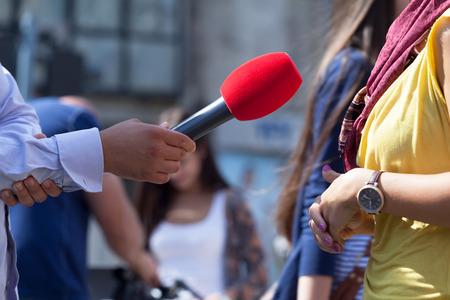 relaciones publicas: Entrevista con los medios Foto de archivo