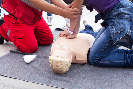 cpr: CPR. First aid. Stock Photo