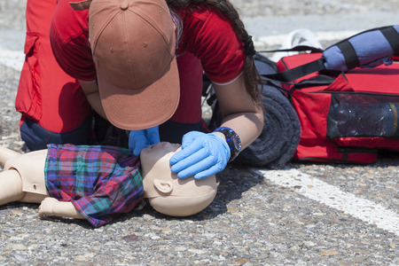 accident rate: Infant CPR dummy first aid training