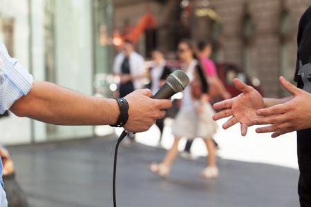 Press interview 写真素材