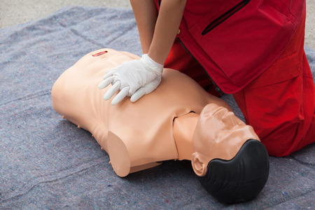 chest compression: First aid. Cardiopulmonary resuscitation CPR. Stock Photo