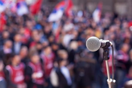 통신: 항의. 공개 시범. 스톡 콘텐츠