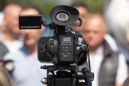 media event: Filming an media event with a video camera Stock Photo