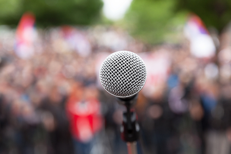 demonstration: Protest. Public demonstration. Microphone. Stock Photo