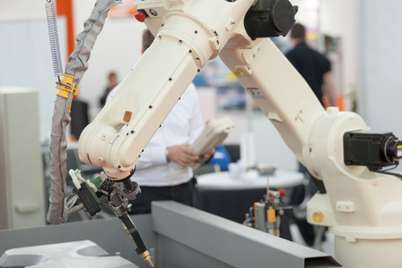 engineering and technology: Industrial welding robot arm