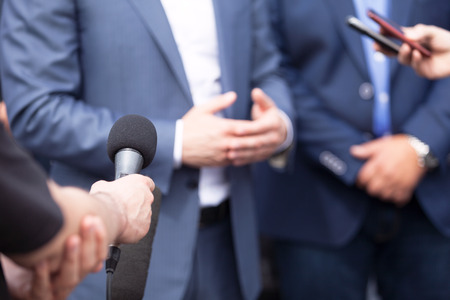 News conference. Media interview. Spokesman.