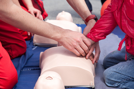 chest compression: First aid training detail