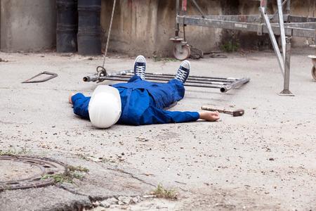 Ongeval op de werkplek. Stockfoto