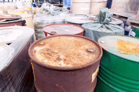 disposed: Old, rusty barrels with toxic chemical waste Stock Photo
