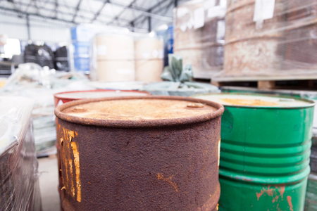 disposed: Rusty barrels with toxic chemical waste