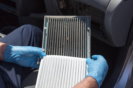 Cabin air filters, dirty and clean 版權商用圖片