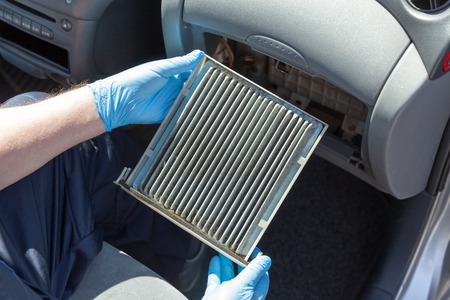 Dirty cabin air filter for car