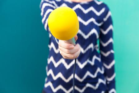 Media interview. Journalist. Microphone.