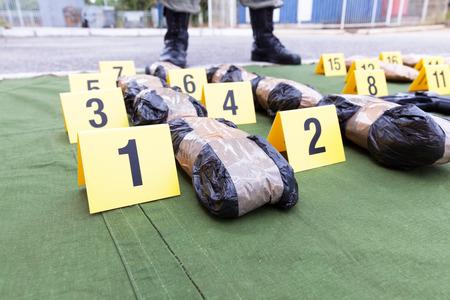 Drug evidence seized during the police raid Stock Photo