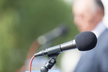 Microphone. News conference. Stock Photo