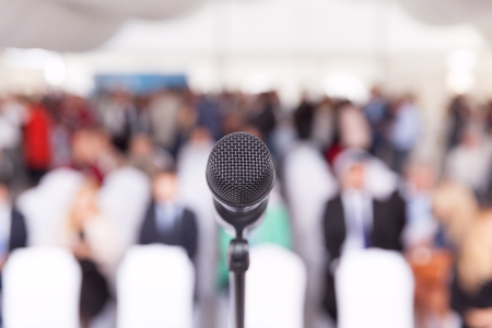 chief executive officer: Business conference. Microphone. Corporate presentation. Stock Photo