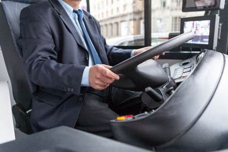 Bus driver seat in the driver seat