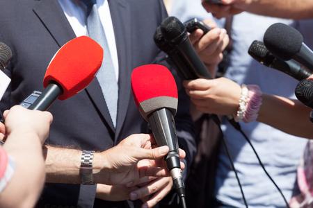 Public relations - PR. Media-interview. Nieuws conferentie. Stockfoto