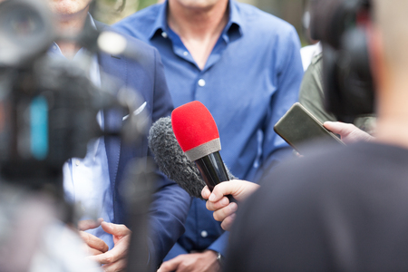 News conference. Broadcast journalism. Stock Photo