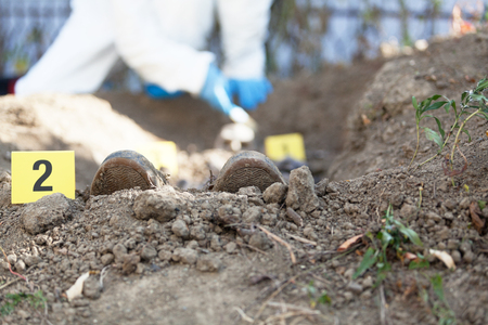 Exhumation: Forensic science specialist at work Stock fotó