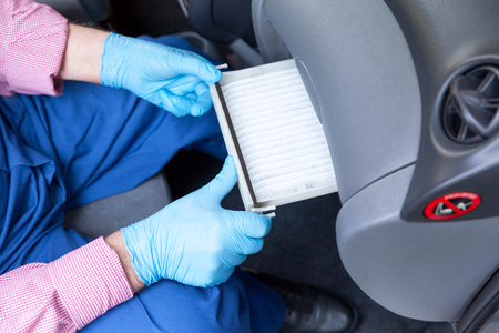 Installing new cabin pollen air filter for a car