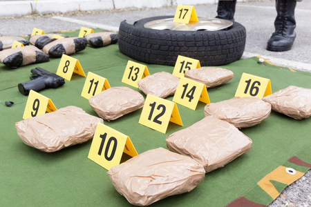 Drug evidence seized during the police raid 写真素材