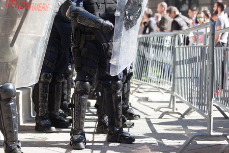 Riot police on duty during protest