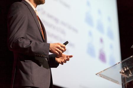 Speaker at business conference or presentation 写真素材