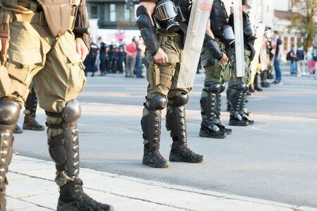 Riot police on duty during street protest