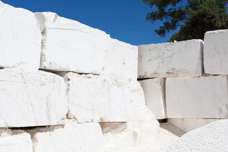 Stack of huge raw marble blocks from a quarry