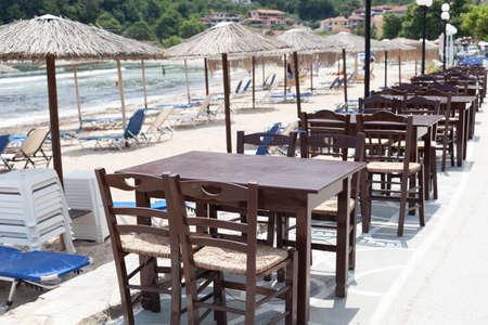 Empty beach restaurant during coronavirus COVID-19 pandemic 免版税图像
