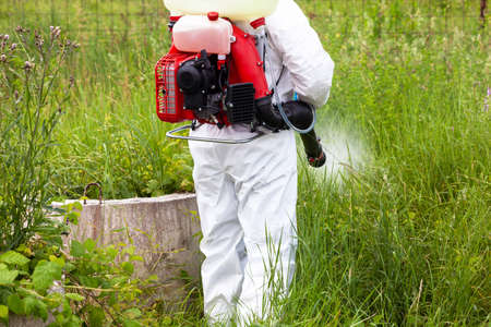 Pest control worker spraying insecticides or pesticides outdoor 免版税图像