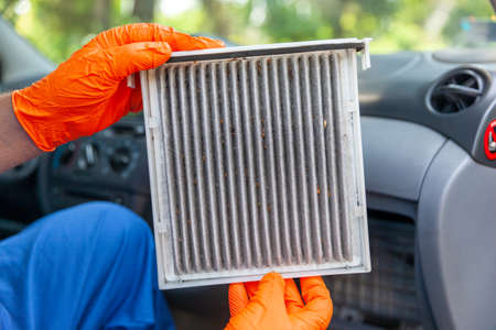 Replacement of dirty cabin pollen air filter for a car. Basic auto mechanic skills concept.