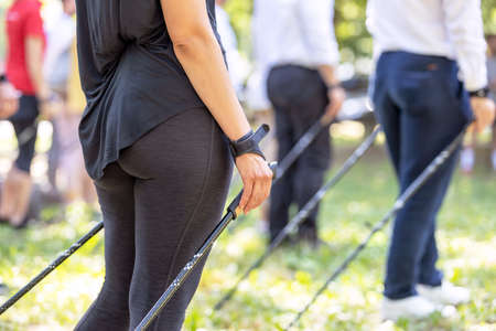 Nordic or pole walking exercise activity 免版税图像